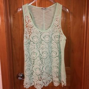 Mint Green Lace Tank Top